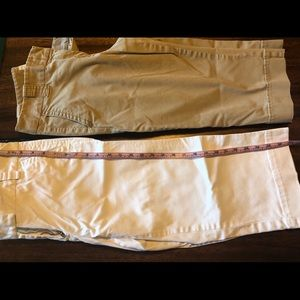 2 Used JCrew Chino Capris SZ8. White. Khaki